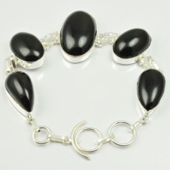 Black Onyx Bracelet Silver Overlay over Copper 23 cm B2205 in Charm Bracelets from Jewelry Accessories