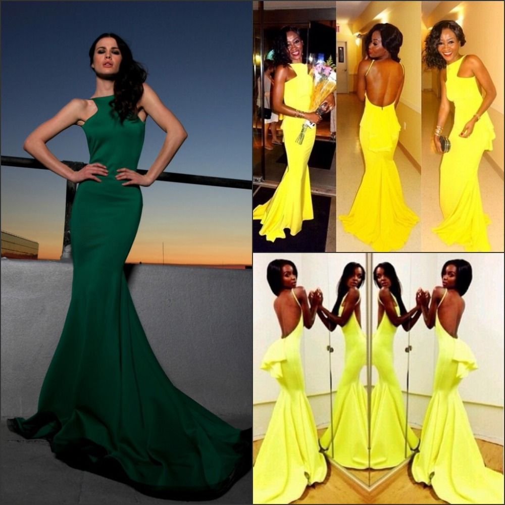 Amazing Crew Neck Hot Sale Green Mermaid Evening Dress 2015 ...