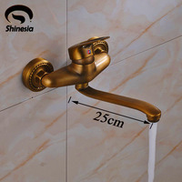 Antique Brass Single Handle Bathroom Sink Faucet Bath Tub Mixer Tap Solid Brass Wall Mounted