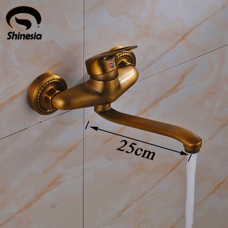 Antique Brass Single Handle Bathroom Sink Faucet Bath Tub Mixer Tap Solid Brass Wall Mounted тушь для ресниц rouge bunny rouge amplitude big lash mascara 04 цвет 04 pure obsidian variant hex name 010101