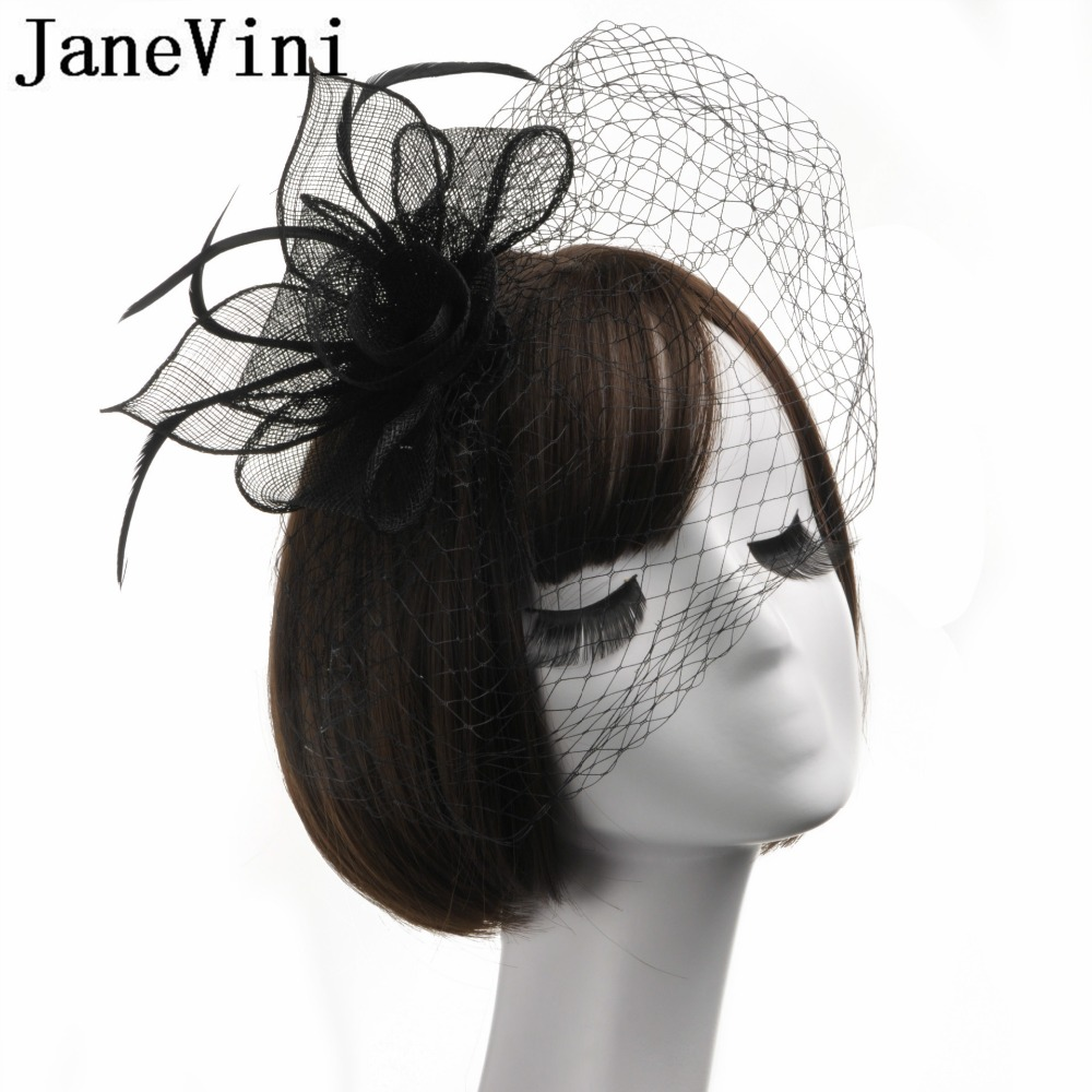 first rate discount shop hot new products US $16.2 40% OFF|JaneVini Bridal Net Feather Hats Black Wedding Hats And  Fascinators Vintage Hat Veil Bride Flower Feathers Fascinator Face Veils-in  ...