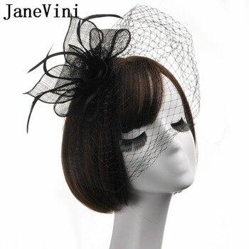 098b0ce0d3f84 JaneVini nupcial neto pluma sombreros negro boda sombreros y Fascinators  sombrero de la vendimia velo novia flor plumas Fascinator cara velos