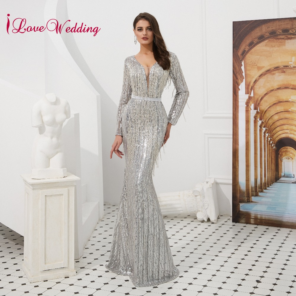 New Arrival 2019 Gorgeous Silver Mermaid   Evening     Dress   Custom Crystal Beading Bling Bling Tassel Long   Evening     Dresses   Luxury