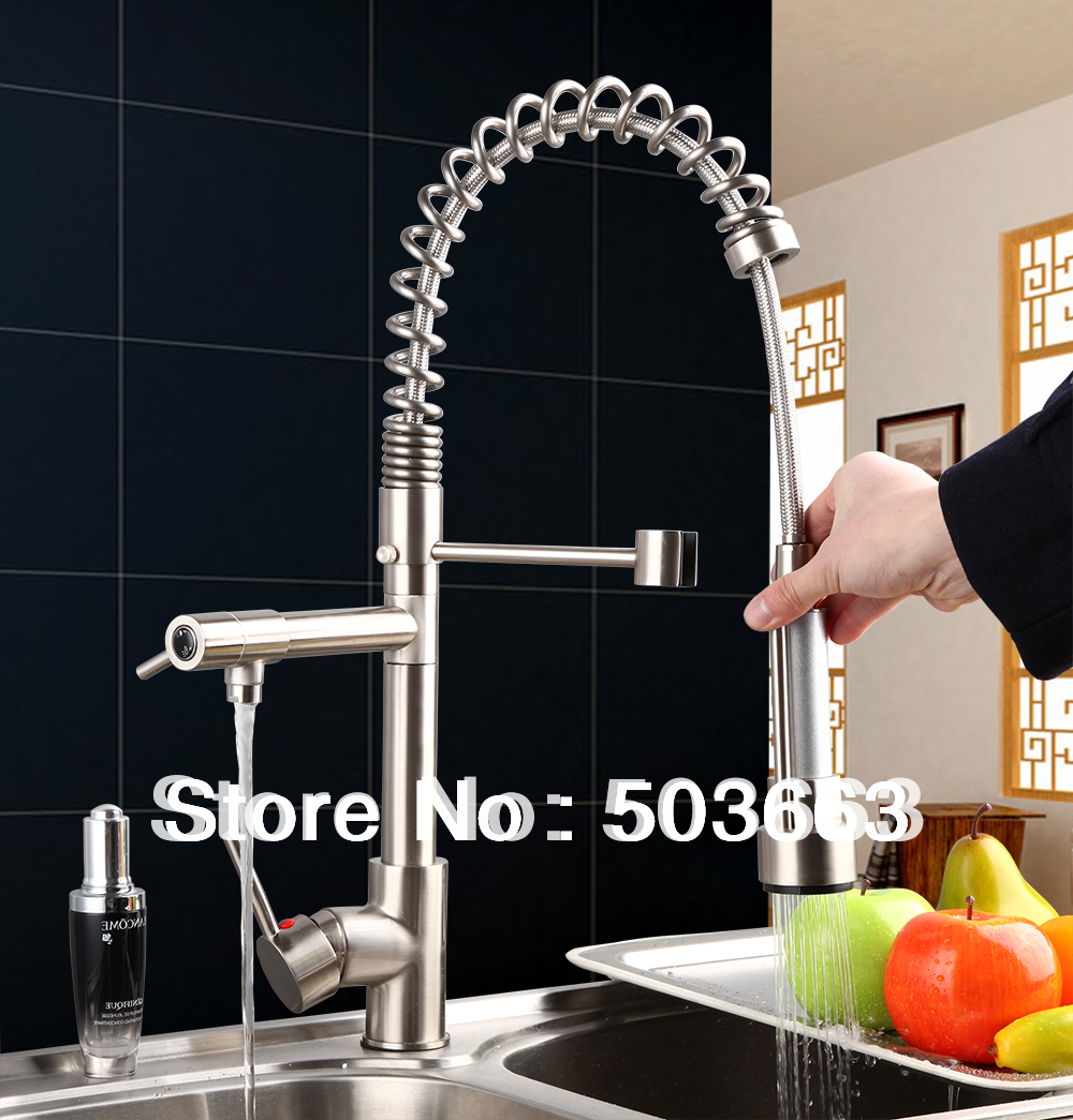 Unique Sales Brass Water Kitchen Faucet Swivel Spout Pull Out Vessel Sink Single Handle Deck Mounted Mixer Tap MF-290 360 hot double handles free brass water kitchen faucet swivel spout pull out vessel sink ceramic mixer tap mf 284 faucet