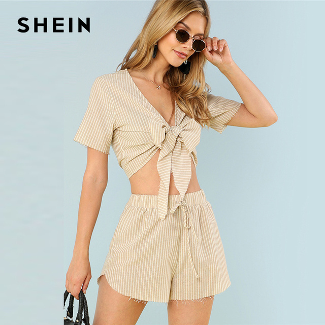 f9394c717a SHEIN Multicolor Vacation Boho Bohemian Beach Striped V Neck Short Sleeve  Drawstring Crop Top With Shorts