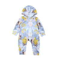 Newborn Baby Boys Girls Floral Painting Romper Long Sleeve Cotton Jumpsuit Playsuit Hooded Clothes
