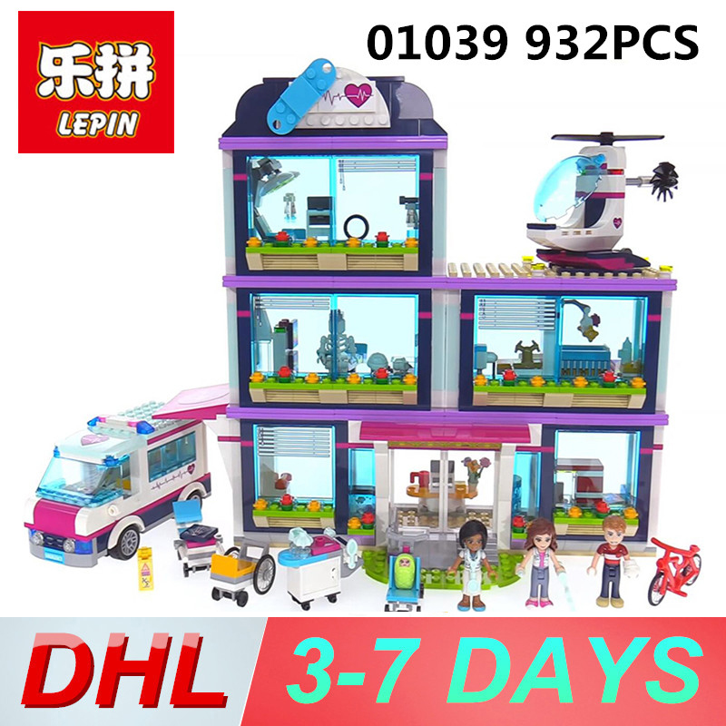 Lepin 01039 932pcs building blocks Friends Girls Series Heartlake Hospital designer Toys for childern Legoing 41318 Bricks lepin 01039 friends girl series building blocks toys heartlake hospital kids bricks toy girl gifts compatible with legoing 41318