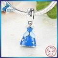 Moda Original 925 Sterling Silver Azul Vestido da Cinderela DANGLE Pendant Fit Colar Pulseira Fazer Jóias de Fadas