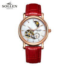 Relojes Mujer 2017 SOLLEN Watch Women Famous Brand White Leather Automatic Watch Women Mechanical Watch Relogio Feminino