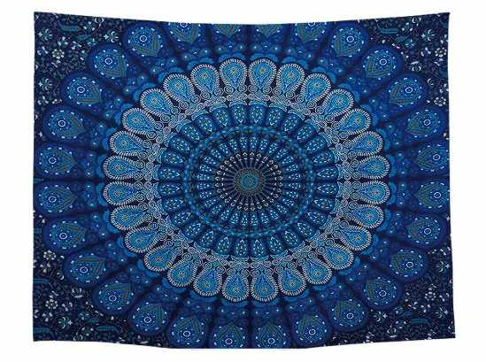 CAMMITEVER Peacock Tapestry Blue Home Textiles Indian Mandala Tapestry Wall Hanging Bohemian Bedspread Hippie Sheet