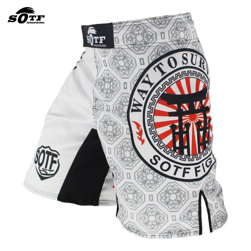 SOTF White Japanese Style Print Ferocious Roar Battle Fitness Shorts mma fight shorts Tiger Muay Thai boxing clothing pretorian geometric print wrap shorts