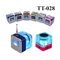 Nizhi TT 028 LED Mini Speaker Crystal Display Portalble Loud Subwoofer Music MP3 Player Support TF