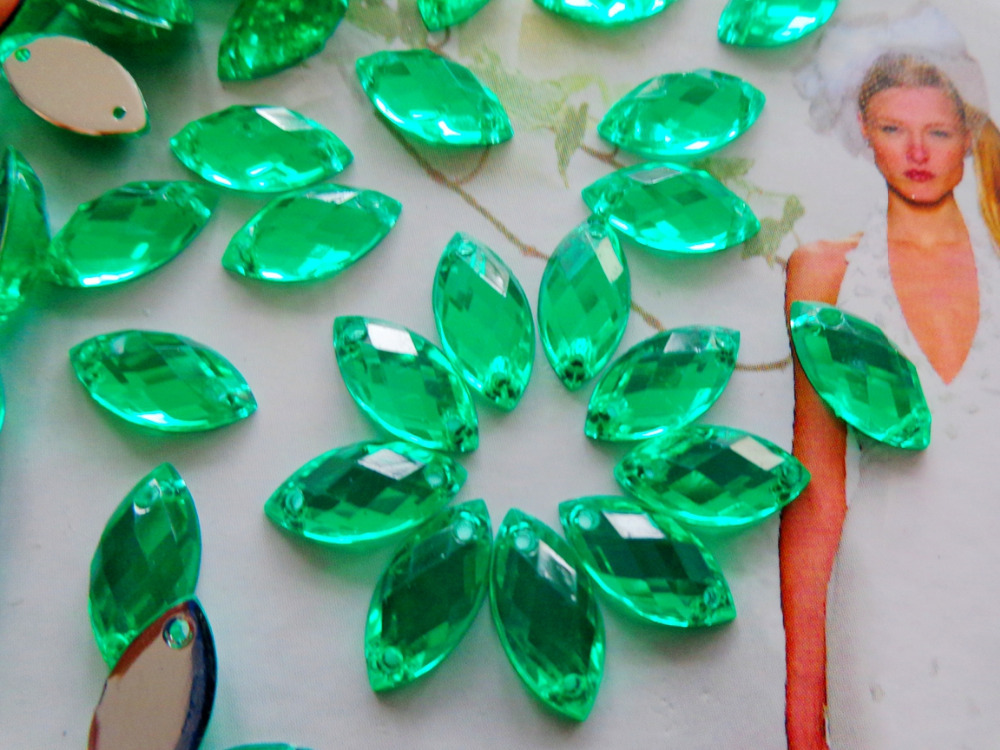Green rhinestones 300pcs 6*12mm Sew on stone r gem acryl crystal strass diamond hand sewing