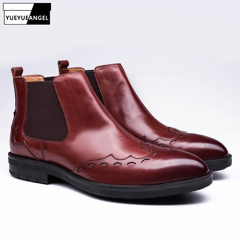 Brand Pointed Toe Chelsea Boots Men Fashion Genuine Leather Casual Slip On Ankle Shoes Winter Business Office Formal Booties