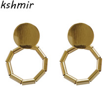 Metal geometry circular earrings atmosphere 2018 New modern fashion statement women jewelry