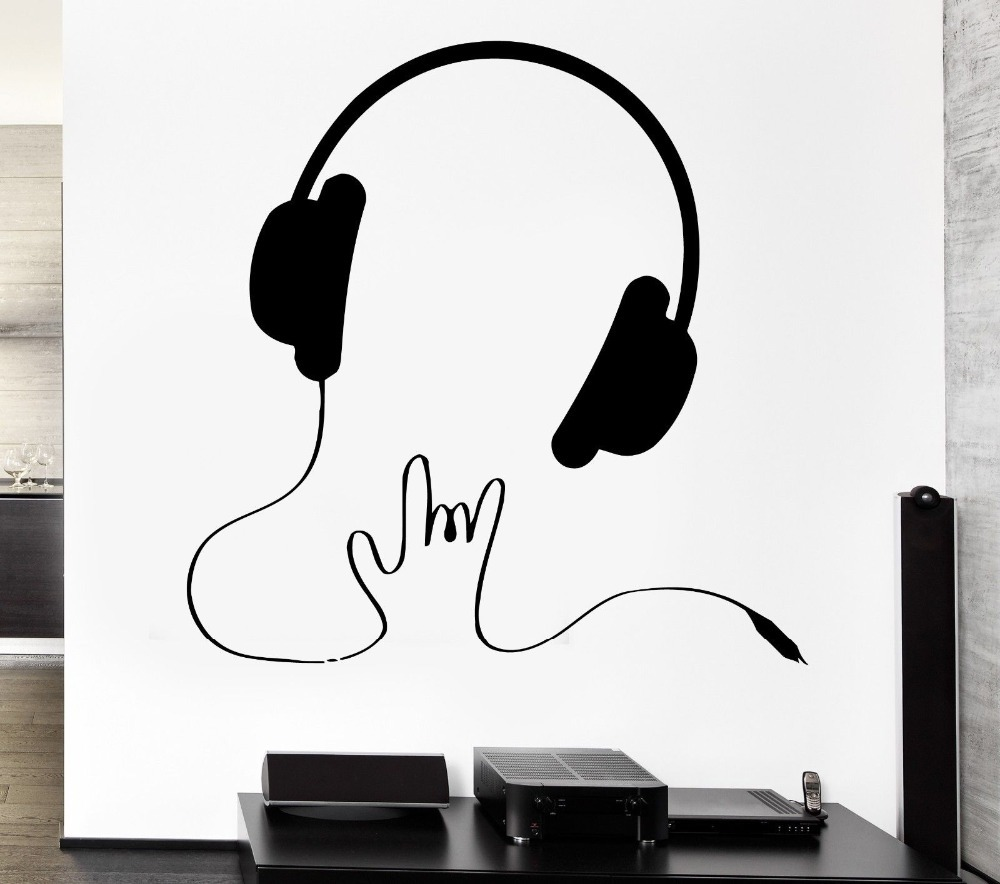 New Creative Music Vinyl Wall Decal Headphones Music Sign Rock Pop Songs Cool Decor For Bedroom Art Wall Sticker Home Decoration image