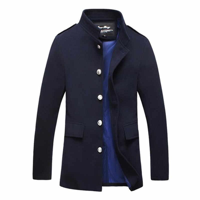 2019 новый зимний чистого цвета мужские бутик высококлассная шерстяная ткань для отдыха Пыльник пальто шерсть Стенд воротник Пыльник пальто куртки