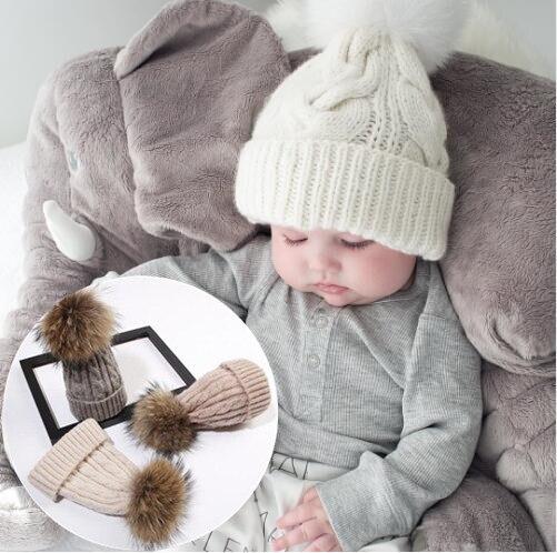 2 pcs Mother & baby warm winter beanie fur Pom Hat crochet Ski cap Cute Knitted Thick Cap wholesale Pure Wool kids wear snow