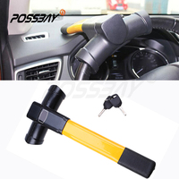 POSSBAY T Style Design Rubber And Iron Universal Car Steering Wheel Theftproof Lock Auto Anti theft Lock With Keys Car Styling