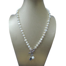 100% NATURE FRESHWATER PEARL NECKLACE WITH NICE CHARMS,Gray Crystal pendant(China)