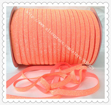 "(50 jardas/lote) Não-stretch 1.5 ""Fosco Neon Orange Glitter Ribbon"