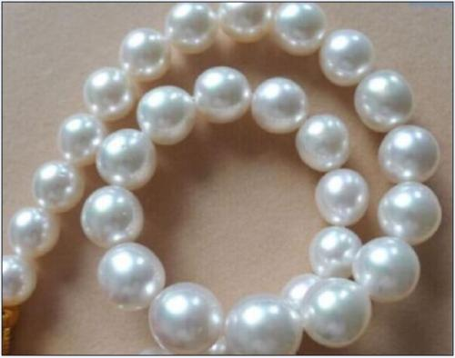 """Genuine Baroque luster 18/"""" 11-12mm natural south sea white pearl necklace"""