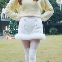Princess sweet lolita skirt Bobon21 Exclusive design Blockbuster True snow fox wool 80% wool shorts B1319