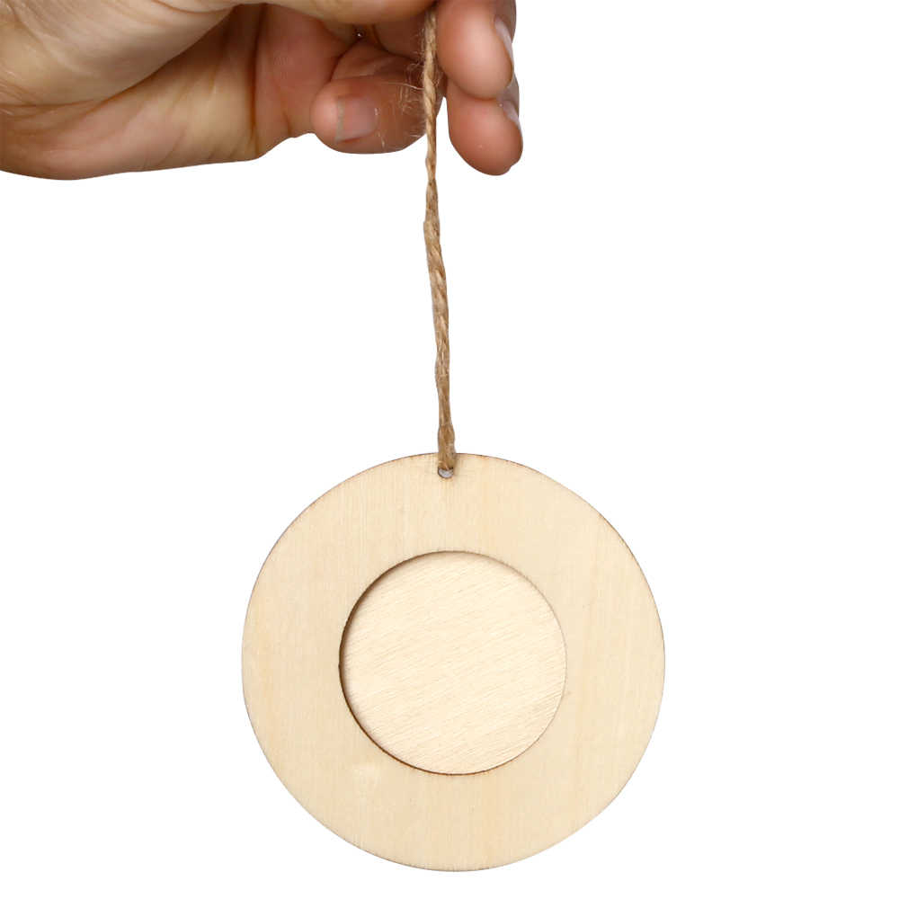 10pcs Mini Round Wood Photo Frame for Picture Hanging Home Wall Decoration DIY Wooden Crafts Picture Frames Birthday Gifts