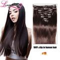 Clip on extensiones de cabello cabeza llena 8 unids brasileño de la virgen del pelo humano del pelo clip en las extensiones cabelo humano tic tac pince cheveux