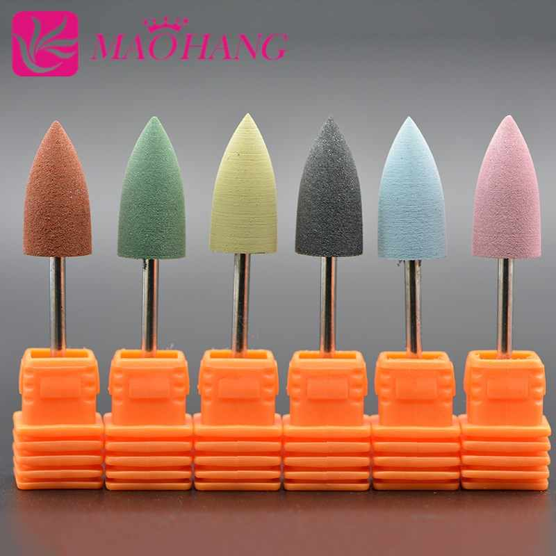 MAOHANG Silicone manucure ongles forets rond tête pointue coupe polissage meuleuse Nail Art lissage polisseur tampon outils