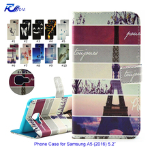 Cartoon Leather Phone Case for Samsung A5 2016 Silicone Coque Wallet Flip Cover for Samsung Galaxy A5 2016 A5100 Housse etui