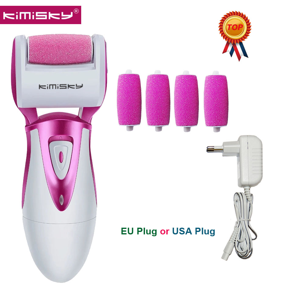 KIMISKY Red RECHARGEABLE Top Strong Electric Pedicure Tools Foot File Electric PK Scholls file Foot Care Tool +4Ps Roller Heads