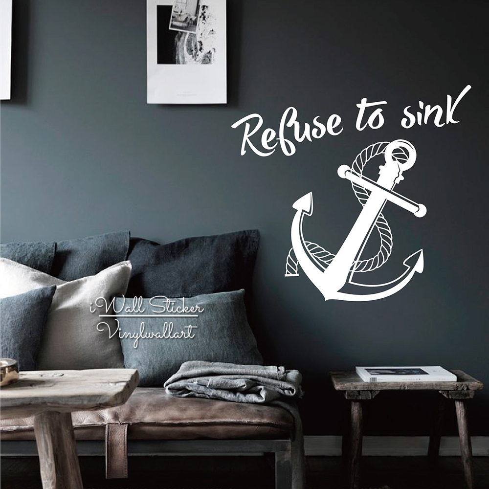 Aliexpress buy refuse to sink quote wall sticker anchor wall aliexpress buy refuse to sink quote wall sticker anchor wall decal diy modern quote wall decor easy wall art cut vinyl stickers m57 from reliable amipublicfo Image collections