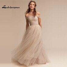 Exquisite Off Shoulder Champagne Wedding Dresses with Pearls A-line Tulle Princess Bridal Gown Custom Made Vestidos de Novia