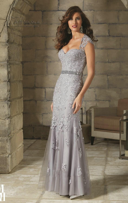 vestido social silver black long lace evening dress
