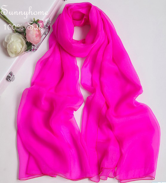 2015 Womens Fall Fashion Fluorescence Red 100 Silk Winter Blanket Scarf Scarves High Grade Korean Female
