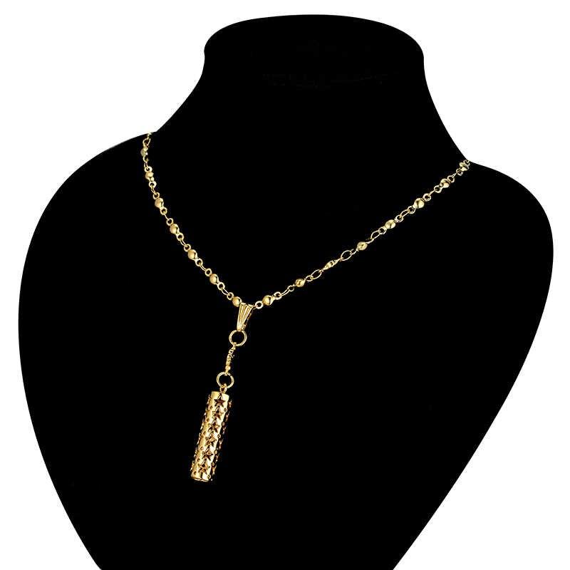 Комплект свадебных украшений полые цилиндрические Висячие серьги и ожерелье наборы золотой/серебряный цвет костюм ювелирные изделия из золота из Дубаи набор для женщин