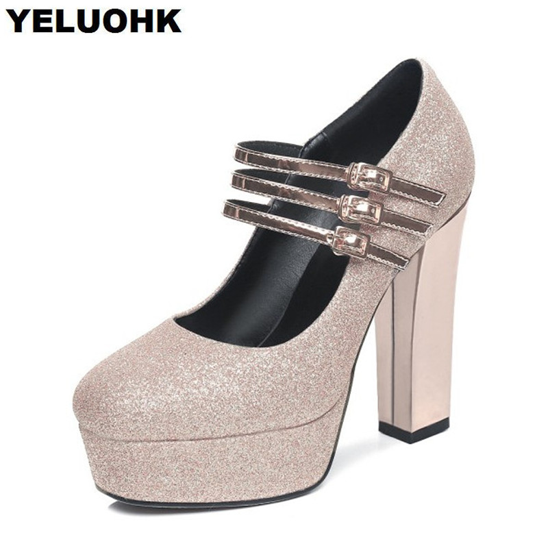 Big Size Crystal Wedding Shoes Woman Pumps Sexy High Heels Women Shoes With Strap Platform Shoes Mary Janes For Party sexy fashion womens platform pumps strappy buckle high heels shoes big size shoes black beige yellow pink white