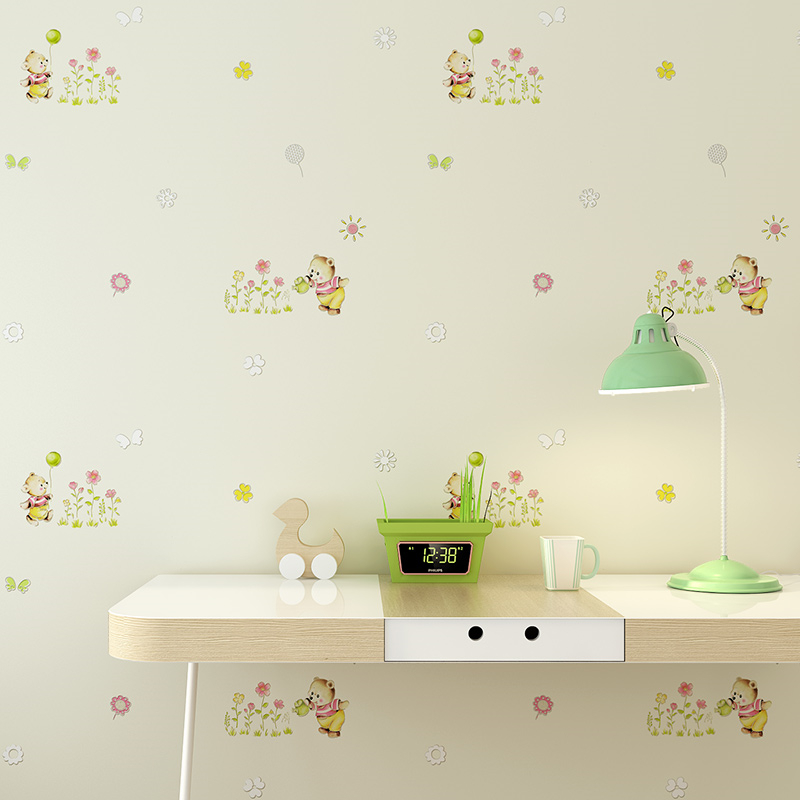 Beibehang Children's room wallpaper boy girl bedroom room cute cartoon bear environmental protection non-woven 3d wallpaper beibehang environmental non woven boy girl warm cartoon children s room blue sky clouds balloon wallpaper
