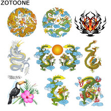 ZOTOONE Dragon Totem Diy Patch on Clothes Iron Transfers for Clothing T-shirt Heat Transfer Thermo Stickers Heart Applique E