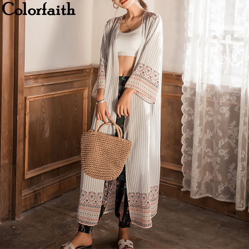 2019 Kimono Cardigans Fashion Chiffon Summer Tribal Retro Printed Long Blouses Ladies Shirts Feminina Women Clothing CA8091