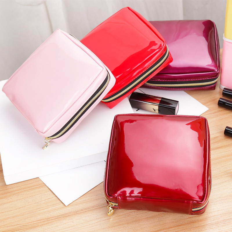 50PCS / LOT Cosmetic Bag Women Simple PU Leather Travel Make Up Zipper Makeup Case Pure Color Toiletry Bag