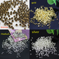 500pcs 2mm Round Copper Metal Beads Crimp End Bead For Diy Jewelry Findings And Components rhodium Bronze Gold Sivler Plated