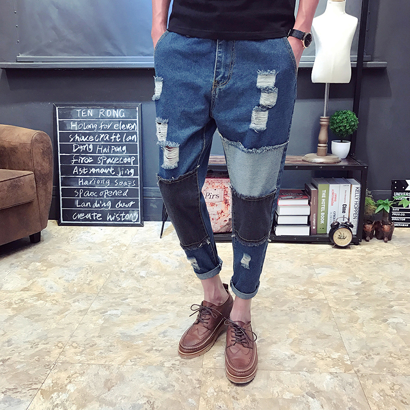 2017 Summer New Arrival Ripped Jeans for Men High Quality Oversized Male Denim Jumpsuit Casual Patchwork Mens Jeans Pants 060206 denim overalls male suspenders front pockets men s ripped jeans casual hole blue bib jeans boyfriend jeans jumpsuit or04