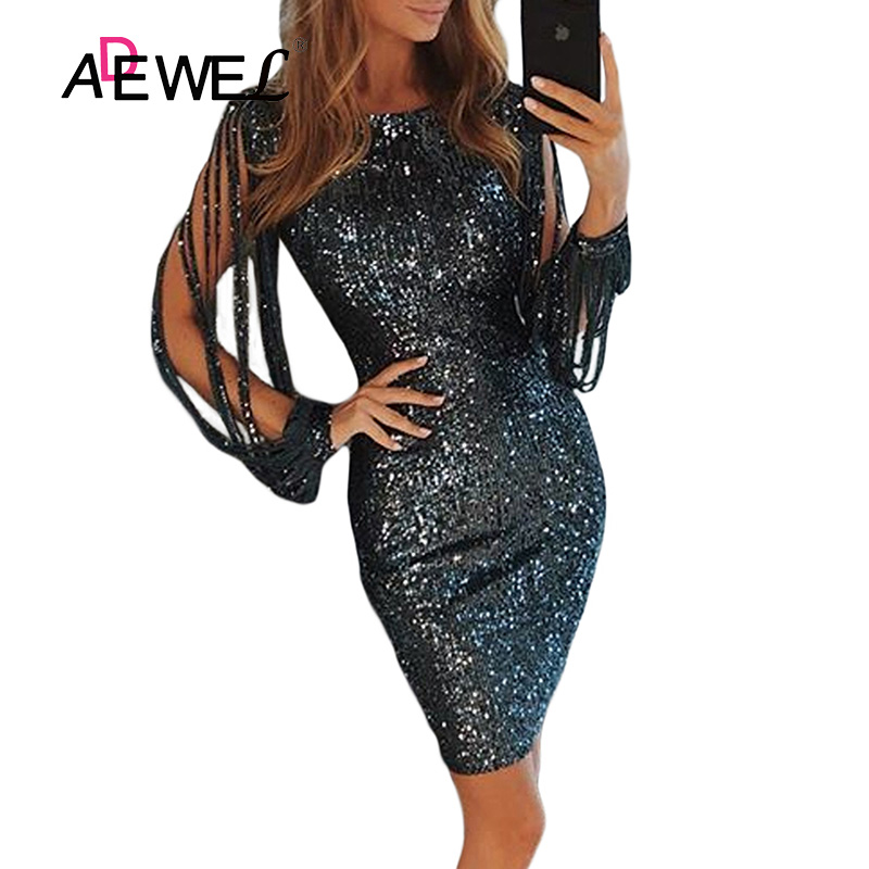 ADEWEL Black Metallic Glitter Sequin Bodycon Party Midi Dress Women Sexy Sequined Hollow Out Long Sleeve Club Dresses Vestidos