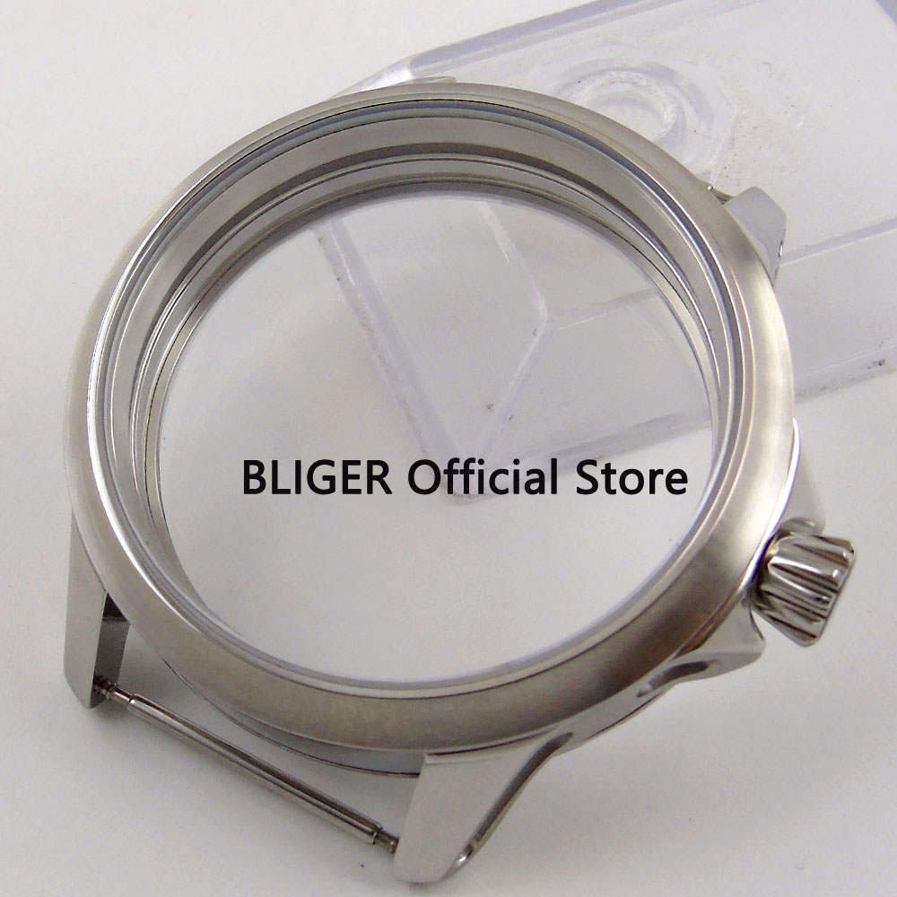 Classic BLIGER 45MM Stainless Steel Mineral Glass Watch Case Fit for ETA 6497 6498 Hand Winding Movement Men's Watch Case C108|Watch Faces|Watches - title=
