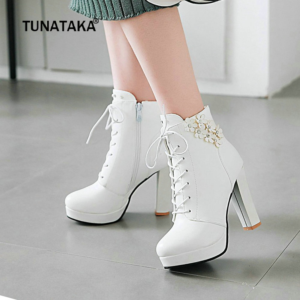 47145d9c8624 Women Platform Boots Pu Leather Crystal Suqare High Heel Ankle Boots Lace  Up Round Toe Autumn