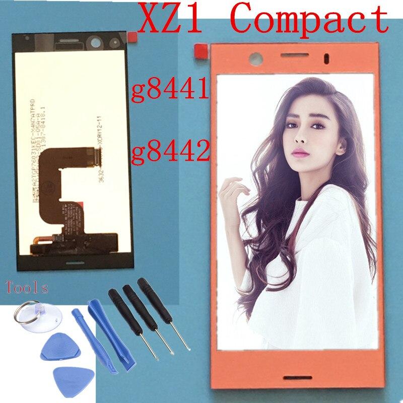 Noir argent bleu rose pour Sony Xperia XZ1 Compact g8441 g8442 LCD écran tactile affichage numériseur panneau verre pièces d'assemblage