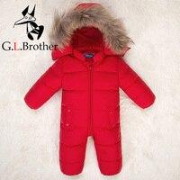 Newborn Baby Snowsuit Natural Fur Hooded Infant Boys Girls Down Jackets Snow Wear White Duck Down Winter Outwear Jumpsuits Z141