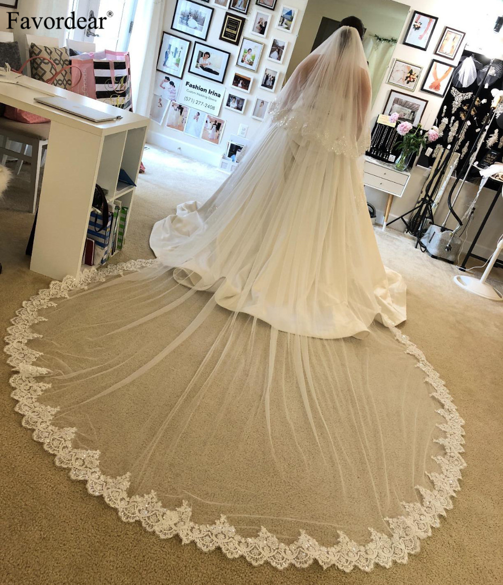Favordear Elegant Cathedral Length Wedding Veil With Blusher Women s 2 Tier Cathedral Lace Wedding Bridal